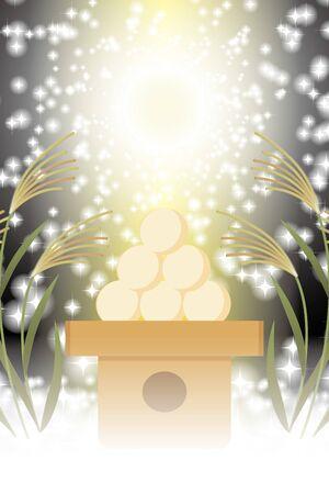 Background Illustration, Tsukimi Dumplings, Suki, Full Moon, Party, Free Size, Poster, Copy Space Illusztráció