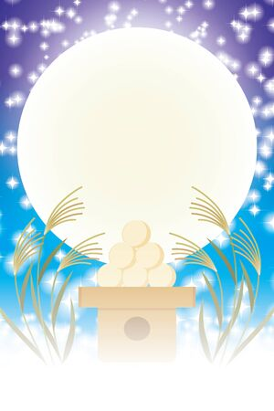 Background illustration, Tsukimi dumplings, traditional events, soot, full moon, mid-autumn moon, light, free, advertising poster, vertical position