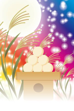 Background illustration, Tsukimi dumplings, annual events, suki, full moon, fifteen nights, moonlight, free, promotional posters, free Иллюстрация