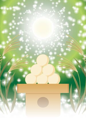 Background Material, Illustration, Tsukimi Dumplings, Traditional Events, Soot, Full Moon, Fifteen Nights, Moonlight Shine, Free, Free Size, Meigetsu