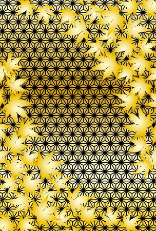 Vector background wallpaper, Japanese style traditional pattern, hemp leaf pattern, leaf of the leaf, autumn, deciduous, maple, free, illustration, landscape Standard-Bild - 129306498