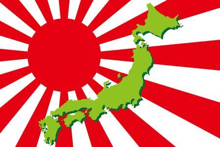 Background Wallpaper,Vector Illustration,Japan Islands,Map,Hinomaru,Japanese Flag,Japan,Free Material,Free Size,Nation