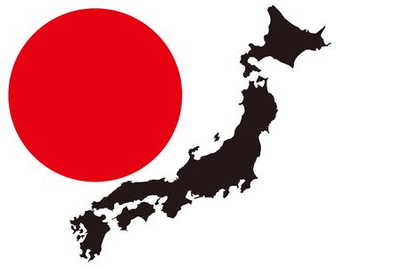Background Wallpaper, Vector Illustration, Map of Japan, Hinomaru, Tokyo, Japan, Free Material, Free Size, National Flag,