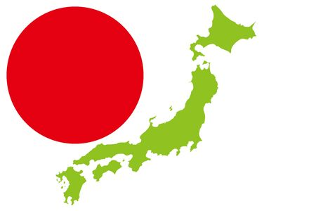 Background Wallpaper, Vector Illustration, Map of Japan, Hinomaru, Japanese Flag, Asia Region, Free, Free Size, National Image