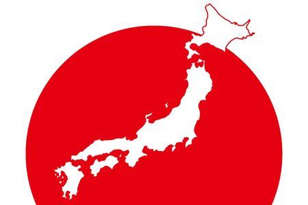 Background illustration wallpaper,Vector material,Map of Japan,Hinomaru,Flag,Japan,Free,Free size,Image of Japan