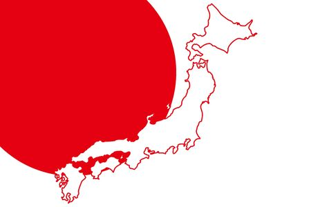Background illustration wallpaper,Vector material,Map of Japan,Hinomaru,Flag,Japan,Free,Free size,Image of Japan