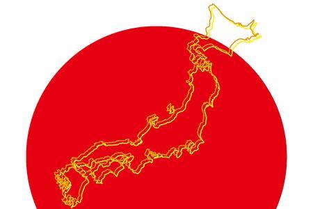 Background Wallpaper,Vector Illustration,Japan Map,Islands,Map,Hinomaru,Japanese Flag,Japan,Free,Free Size 写真素材 - 128478447