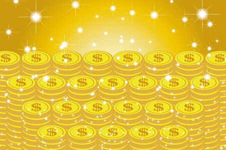 Vector Illustration Background Material, Pile of Coins, US Dollar, Money, Investment, Coins, Making Money, Money, Money Image Standard-Bild - 129306783