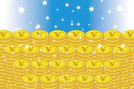 Vector Illustration Background Material, Coin, Exchange Rate, Japan, Yen, Money, 1,000 Money, Making Money, World Economy, Image Иллюстрация