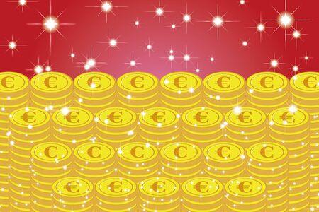 Ilustración vectorial, Moneda, Euro, UE, Dinero, Europa, Inversión, Ingresos, Economía financiera, Imagen, €