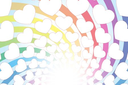 Illustration Background Material, Rainbow Color, Heart Mark, Entertainment, Rainbow Vortex, Free Material, Free Size  イラスト・ベクター素材