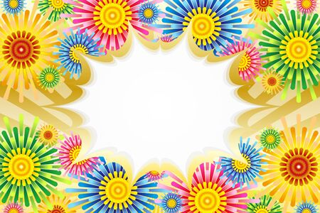 Vector Illustration Background Material, Color, Balloon, Flower Pattern, Copy Space, Flower Pattern, Launch Fireworks, Frame Frame