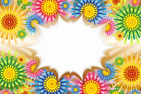 Vector Illustration Background Material, Color, Balloon, Flower Pattern, Copy Space, Flower Pattern, Launch Fireworks, Frame Frame Stock Vector - 129546219