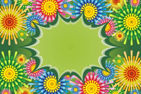 Colorful Vector Illustration Background,Flowers,Free Materials,Free,Fireworks,Starmine,Copy Space,Summer Events