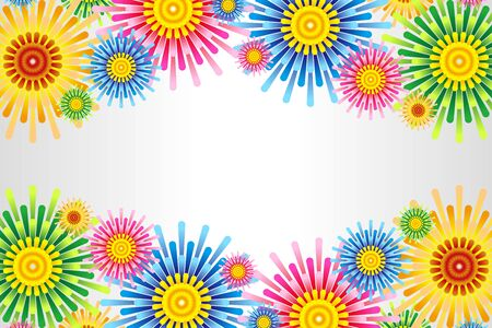 Color Vector Illustration Background Wallpaper,Floral Pattern,Free Material,Free Size,Launch Fireworks,Poster for Summer Festival Event Vettoriali