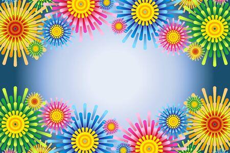 Colorful Vector Illustration Background, Flower Pattern, Flower Pattern,Free Party Material,Free Size,Fireworks Image Vektoros illusztráció