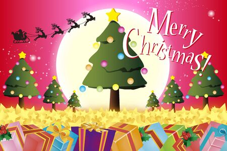 Vector Illustration Background Material, Merry Christmas, Tree, Present, Ornament, Free Size, Red  イラスト・ベクター素材