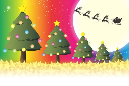 Illustration background material, message card, tree, wood, fun party, free, rainbow color, rainbow color