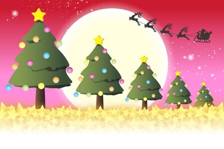 vector illustration, Christmas card, Christmas tree, wood, fun party, decoration, free material, red
