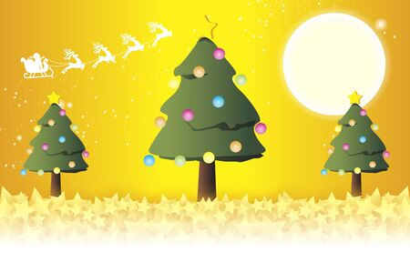 Vector Illustration Background, Happy Christmas Card, Christmas Tree, Momi tree, Party, Free Material, Yellow