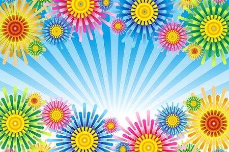 Vector illustration background wallpaper, colorful, concentrated line, effect line, radial, flower, flower, free material, free size,