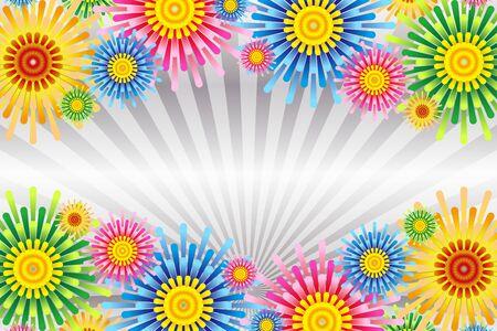 Fond d'écran d'illustration vectorielle, ligne colorée et concentrée, ligne d'effet, radiale, fleur, fleur, matériel gratuit, taille libre,
