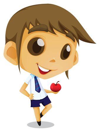 asian student: Kid student asian boy uniform Illustration