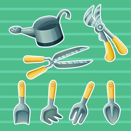 agricultural tools: agriculture gardening set Agricultural tools botanical Illustration