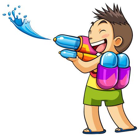 shoot: kid playing water gun illustration