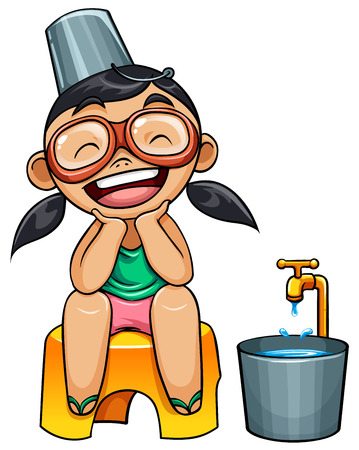 thailand culture: kid with pail and bucket of water illustration Illustration