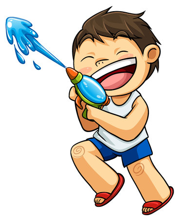 kid playing water gun illustration