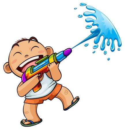 drench: kid playing water gun illustration
