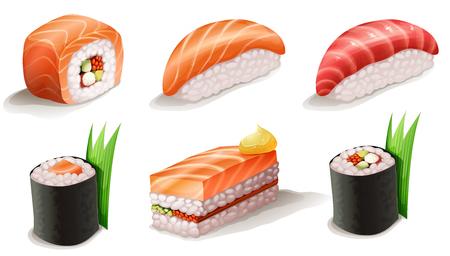 リアルな寿司イラスト