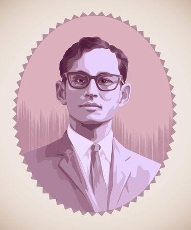 Koning bhumibol van Thailand vector illustratie Vector Illustratie