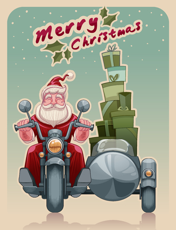 Santa biker on motorcycle vector illustration