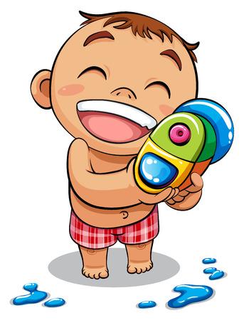 Niño jugando pistola de agua ilustración vectorial
