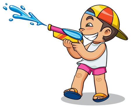Kind spelen waterpistool vector illustratie
