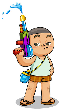 drench: kid playing water gun vector illustration