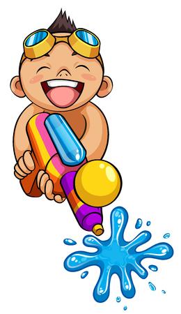 drench: kid playing water gun vector illustration