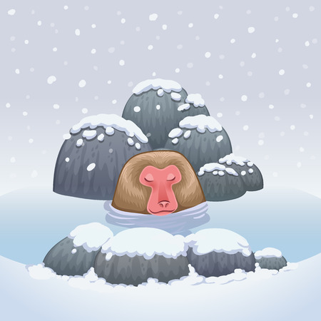 Snow monkey relaxing in onsen hot springs vector illustration
