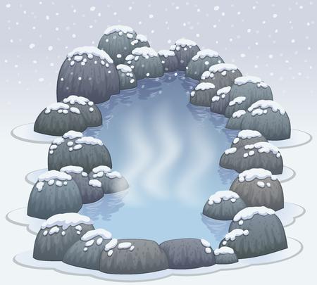 Hot springs in snow winter vector illustration Illustration