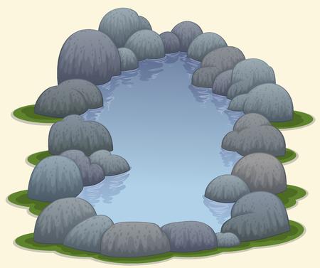 natuurlijke vijver warmwaterbronnen vector illustratie