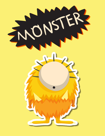 Alien monster character doodle art design vector illustration. Illustration