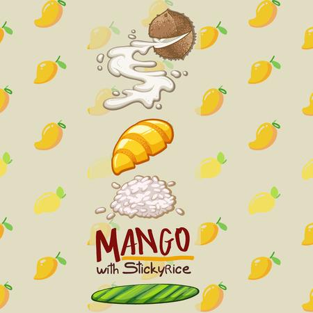 thai food dessert mango with sticky rice vector illustration Illustration