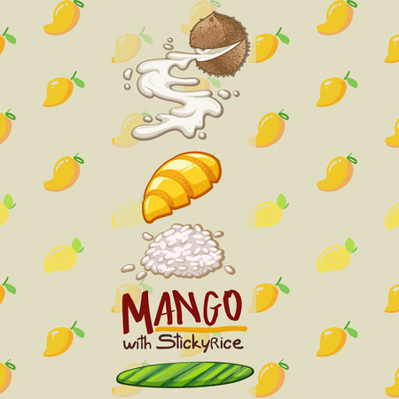thai food dessert mango with sticky rice vector illustration 矢量图像