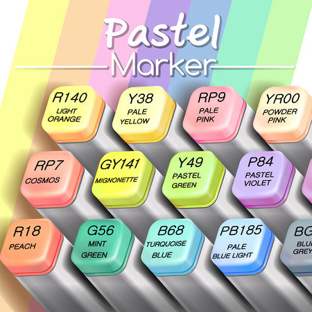 pastel realistic graphic marker pen vector illustration