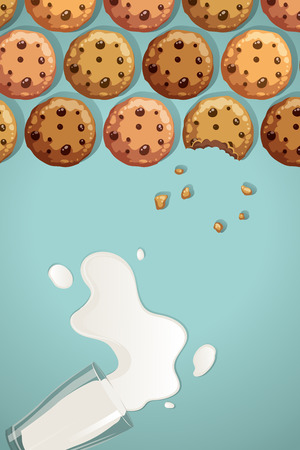 chocolate chip cookies and glass of milk spilled vector illustration Çizim