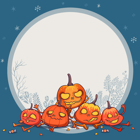 jack o lantern pumpkins monster character design vector illustration