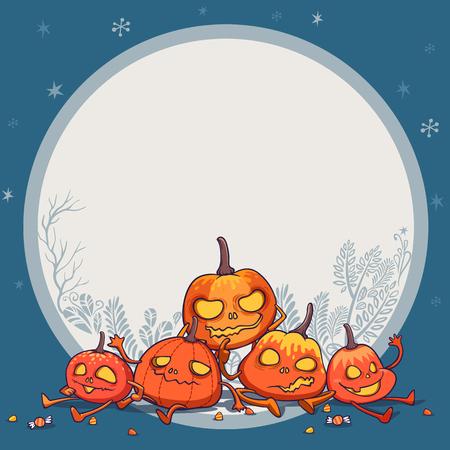 jack o' lantern pumpkins monster character design vector illustration