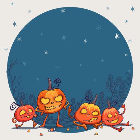 jack o lantern pumpkins monster character design vector illustration